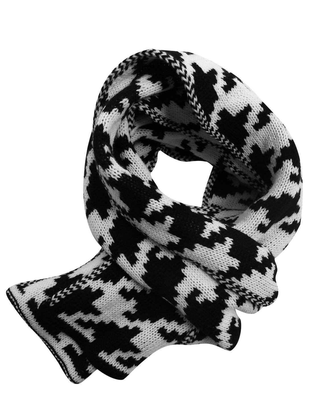 Houndstooth Pattern Stretchy Casual Knit Scarf for Men