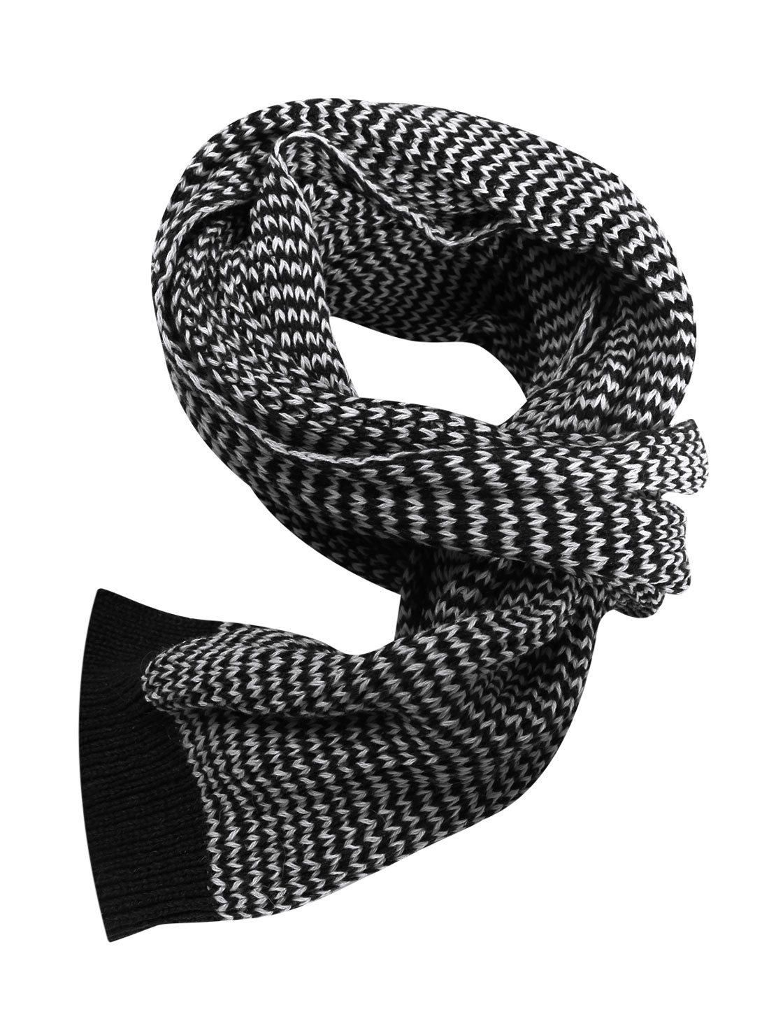 Men Contrast Color Casual Warm Winter Knitted Scarf