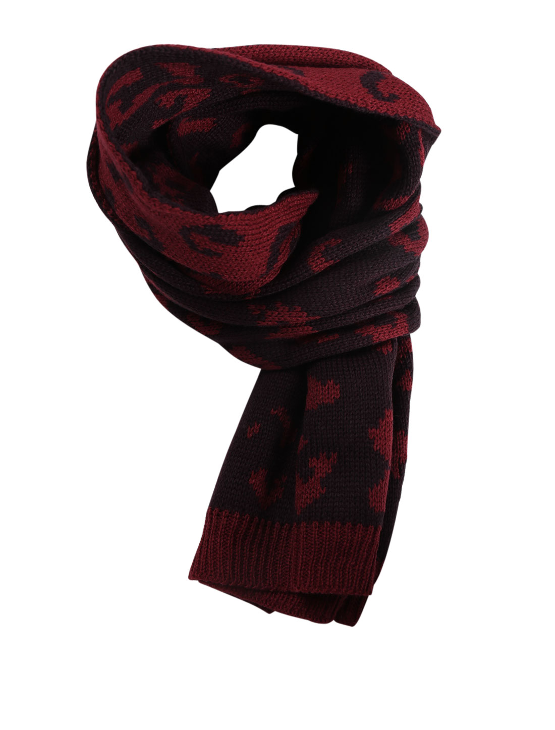 Men Novelty Pattern Casual Warm Winter Knitted Scarf