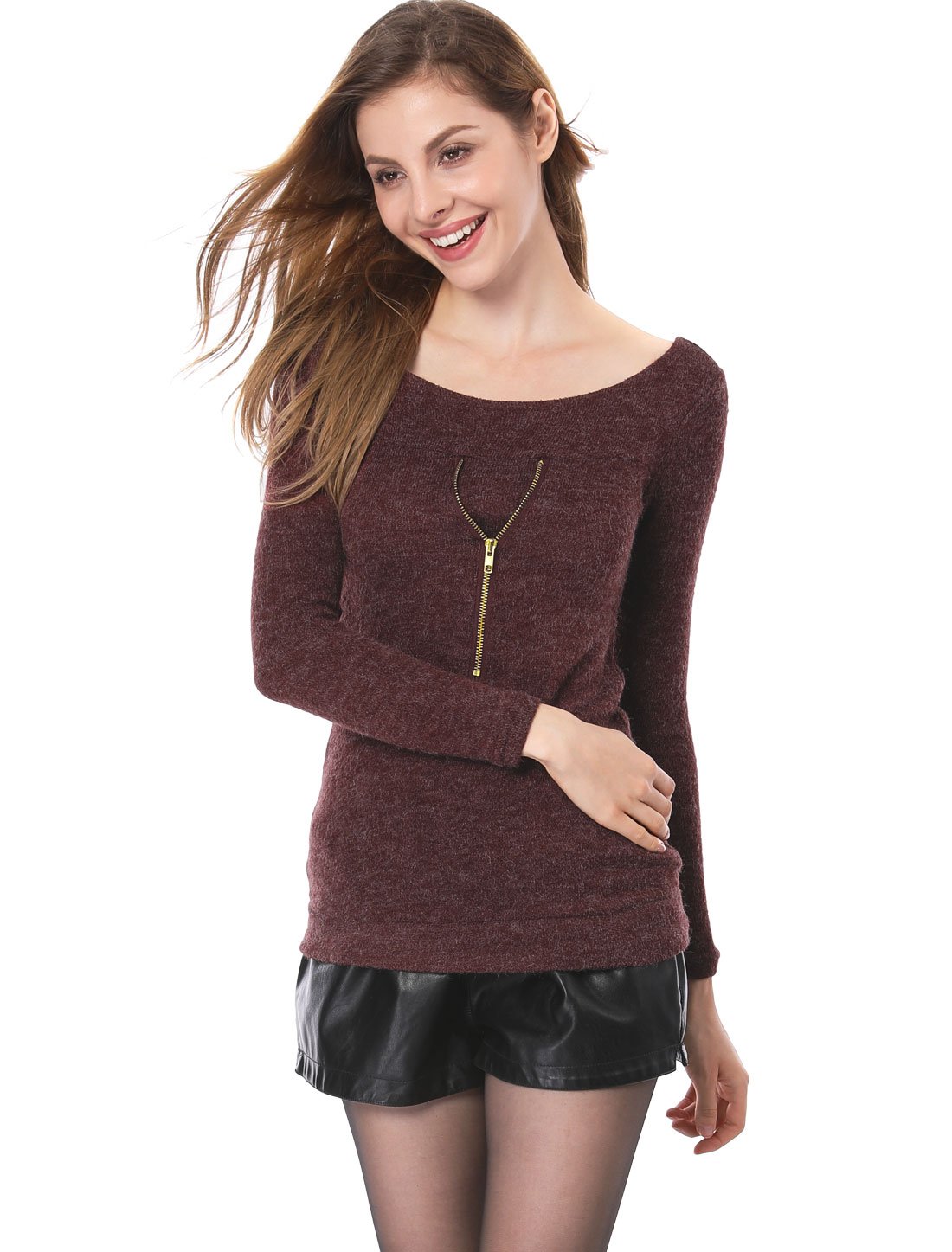 Women Boat Neck Long Sleeve Zipper Decor Front Knit Shirts