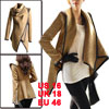 Women Winter Warm PU Edge Asymmetric Trench Overco...