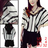 Woman Vertical Stripes Lace Trim Batwing Sleeves P...