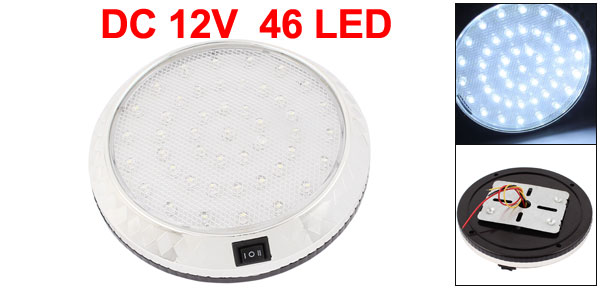 12V White 46 LEDs Car Round Dome Roof Ceiling Interior Light Lamp