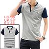 Men Short Sleeves Contrast Color T-Shirts Light Gr...