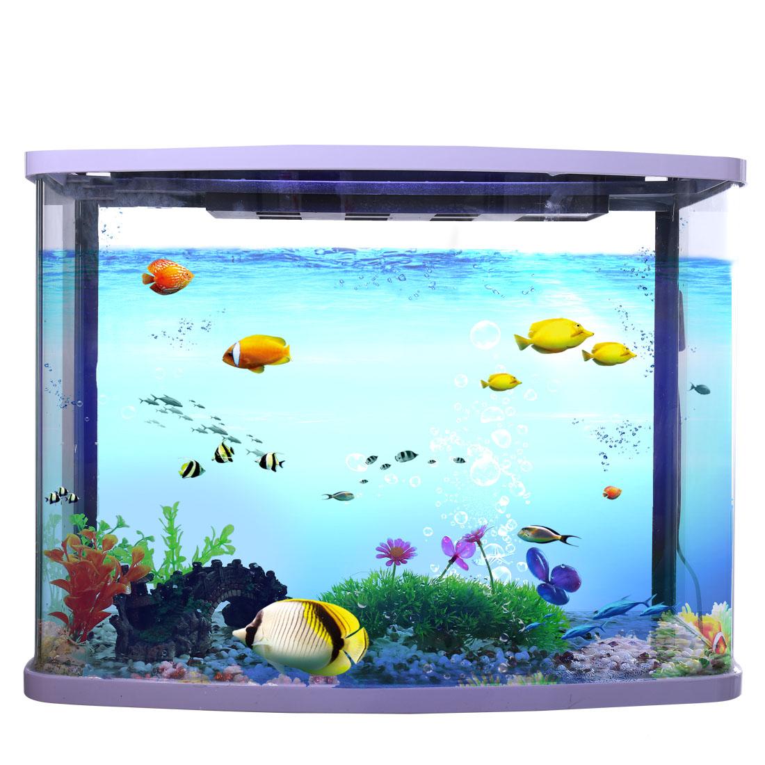 Pelouse verte avec Fleur colorée Plante plastique d'aquarium Ornement d'aquarium 2
