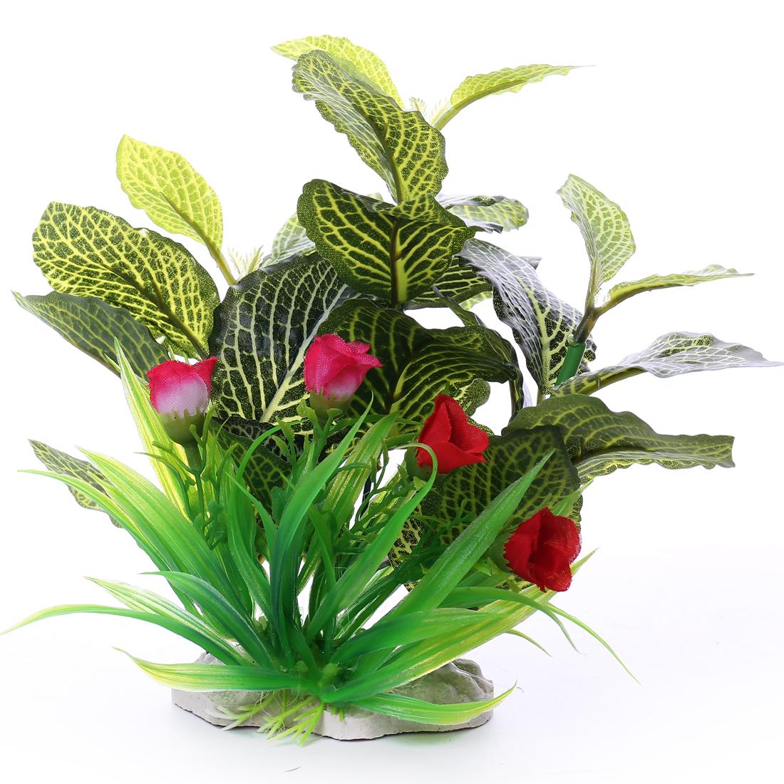 18cm max long Feuille Fleur Plante aquatique en plastique Décoration d'aquarium