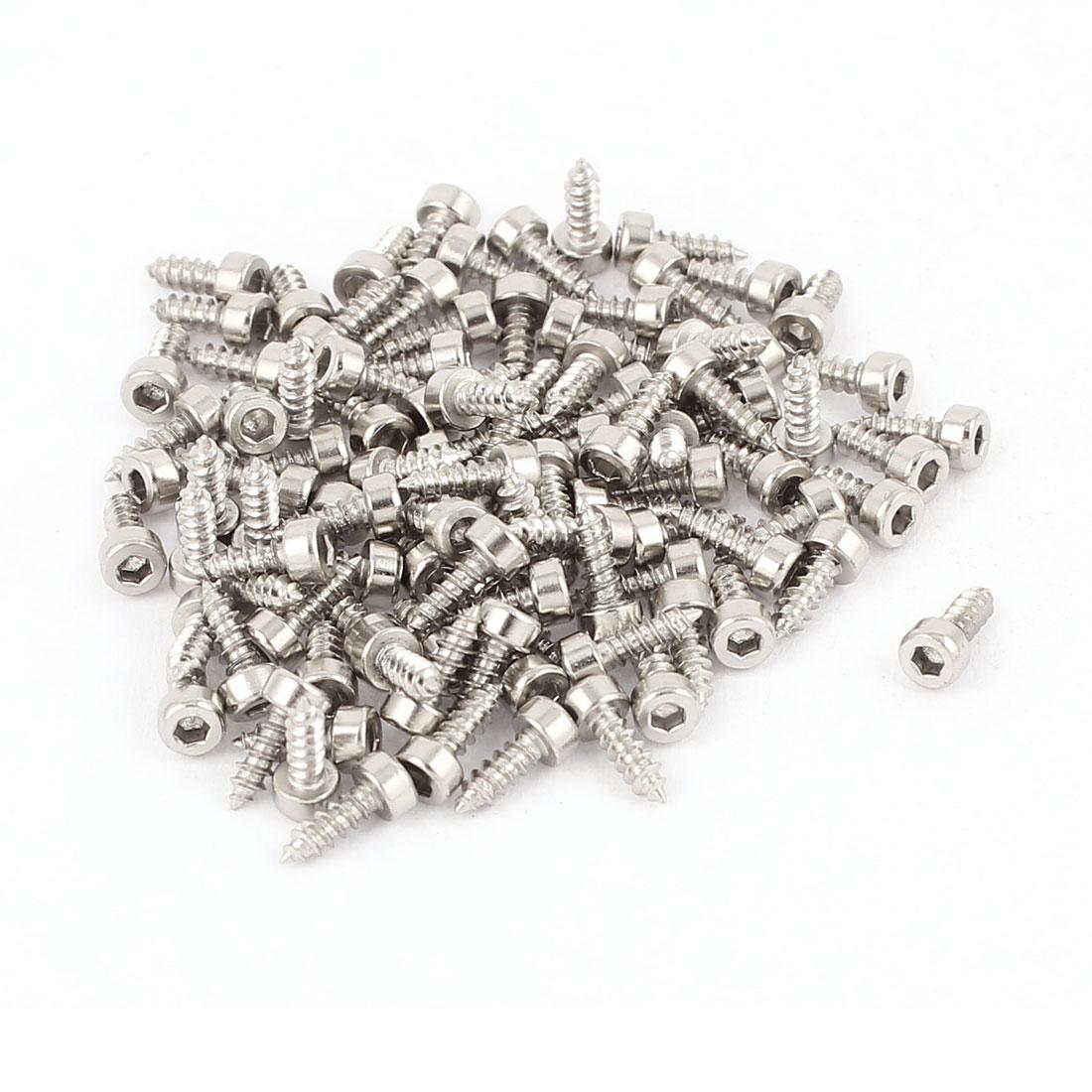 2mm-x-6mm-Male-Thread-Nickel-Plated-Hex-Head-Self-Tapping-Screws-100-Pcs