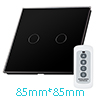 Crystal Glass 2 Gang 1 Way Panel Touch Wall Light Switch Remote C...