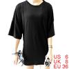 Ladies Crew Neck 3/4 Sleeves Longline Tee Shirt Bl...