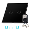 Crystal Glass 2 Gang 1 Way Panel Touch Wall Light Switch Black w ...