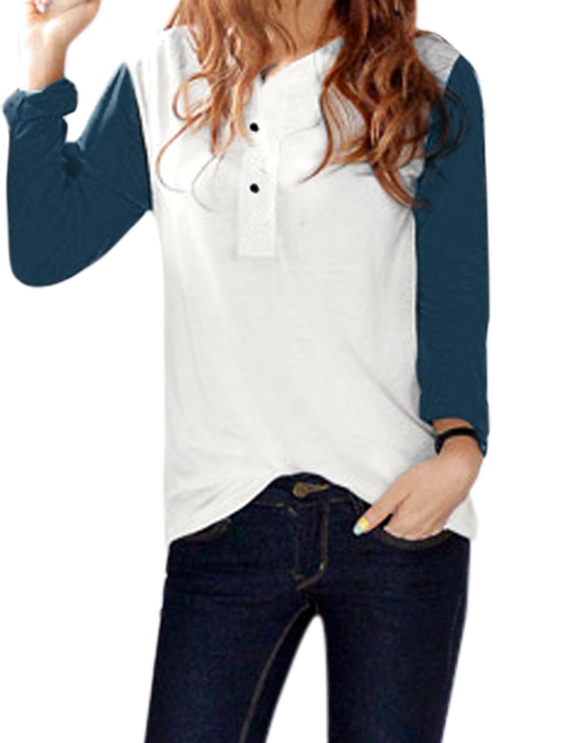 Women Split Neck Long Sleeves Button Closed Upper Color Block Tunic T-Shirt