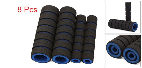 Motoforti 8 Pcs 10mm 22mm Inner Dia Handlebar Brake Clutch Grip Soft Sponge Cover Black Blue for Motorcycle
