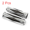 "Motoforti Motorcycle 1"" 25mm Chrome Skull Head Handlebar Hand Grips Cover Sliver Tone Black 2pcs"