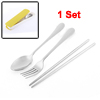 Home Kitchen Spoon Chopsticks Fork Tableware Flatware Cutlery Set w Case Yellow