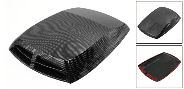 Carbon Fiber Pattern Air Flow Intake Scoop Turbo Bonnet Vent Cover Hood for Car
