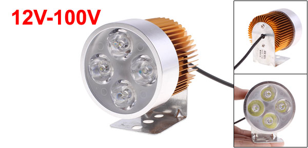 F FIERCE CYCLE 12V-100V 4 x 1W Car Truck Motorcycle Off Road LED Spot Light Lamp Silver Tone