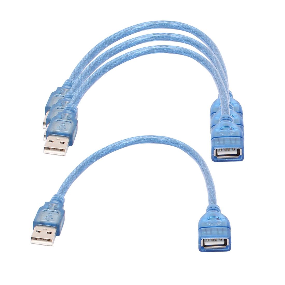 4pcs-USB-2-0-Male-Vers-femelle-Extension-Adaptateur-Cable-Cordon-30cm-Longueur