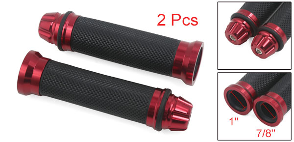 Motoforti 2pcs Motorcycle Aluminum Gel Rubber Hand Grips For 7/8