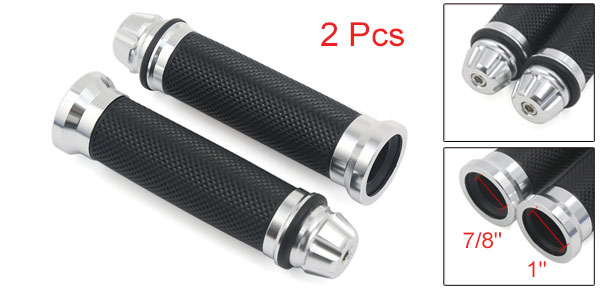 Motoforti 2pcs Motorcycle Aluminum Rubber Hand Grips For 7/8