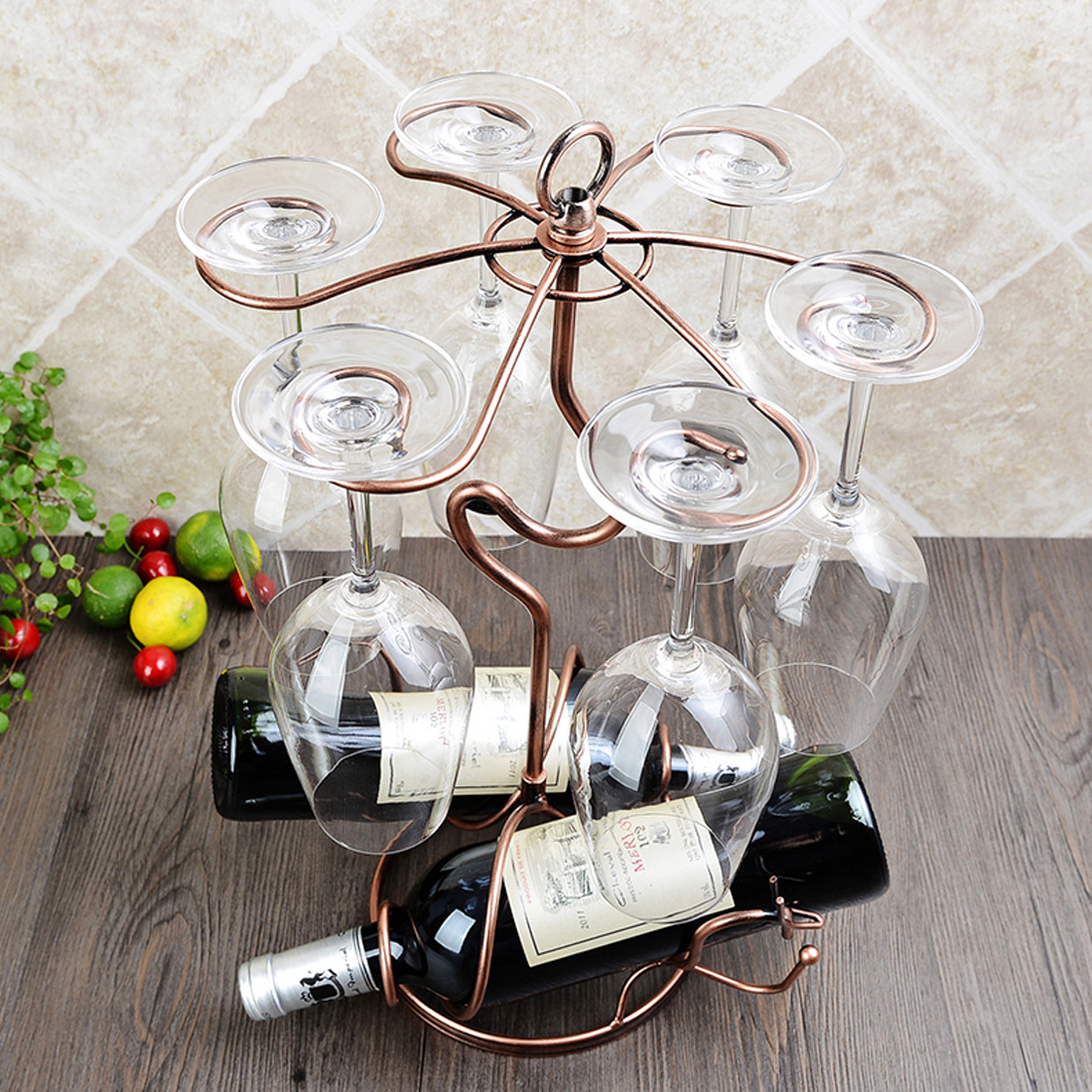 Metal Tabletop 6 Wine Glass Drying Rack Holder Display Stand 46x26cm Brass Tone 6