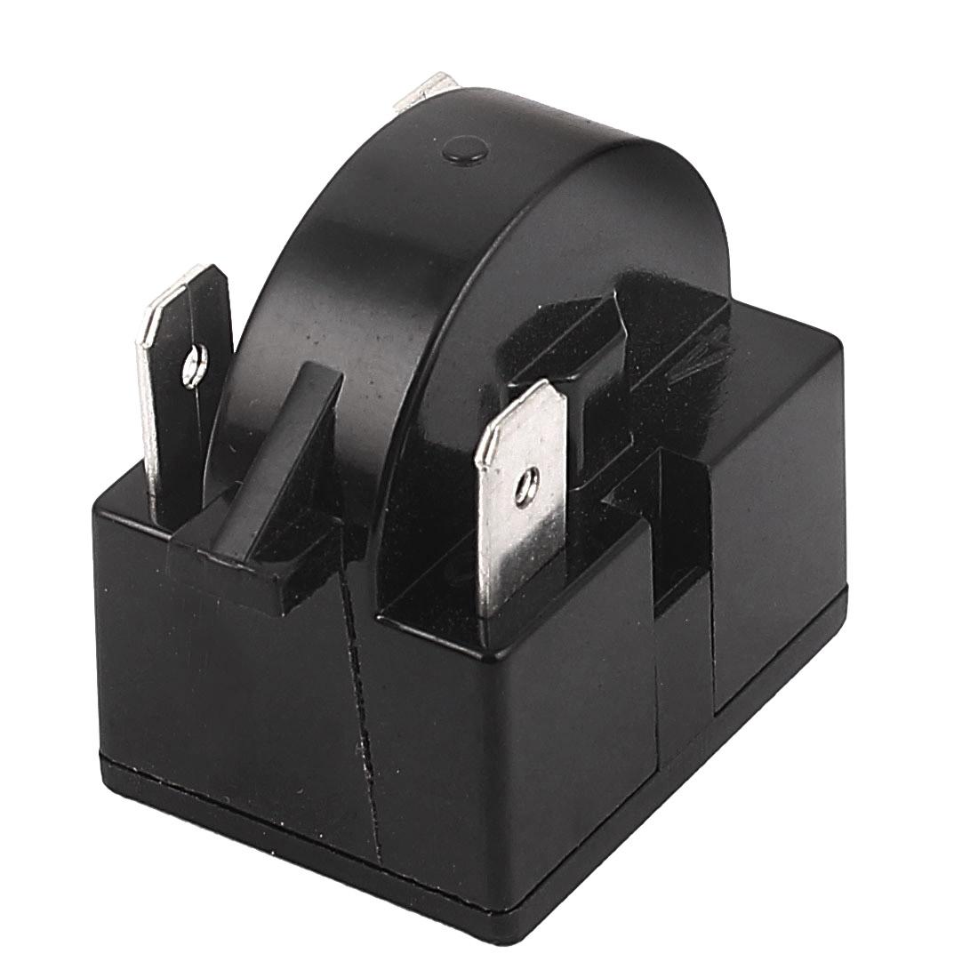 Black Plastic Shell 12 Ohm Resistance 3 Terminals Refrigerator PTC Starter Relay