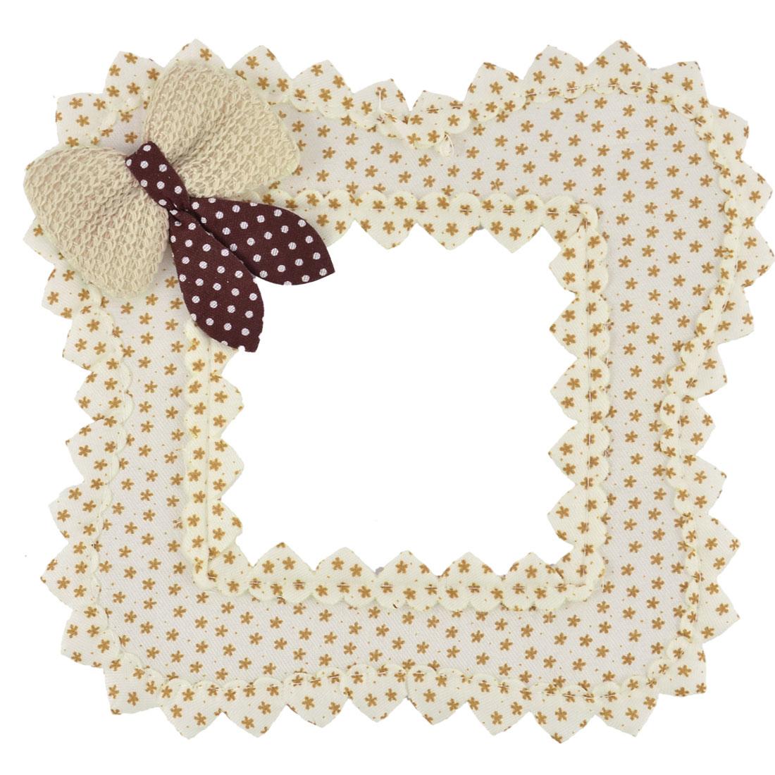 Home Cloth Art Butterfly Shape Bowknot Wall Light Switch Sticker Brown Beige