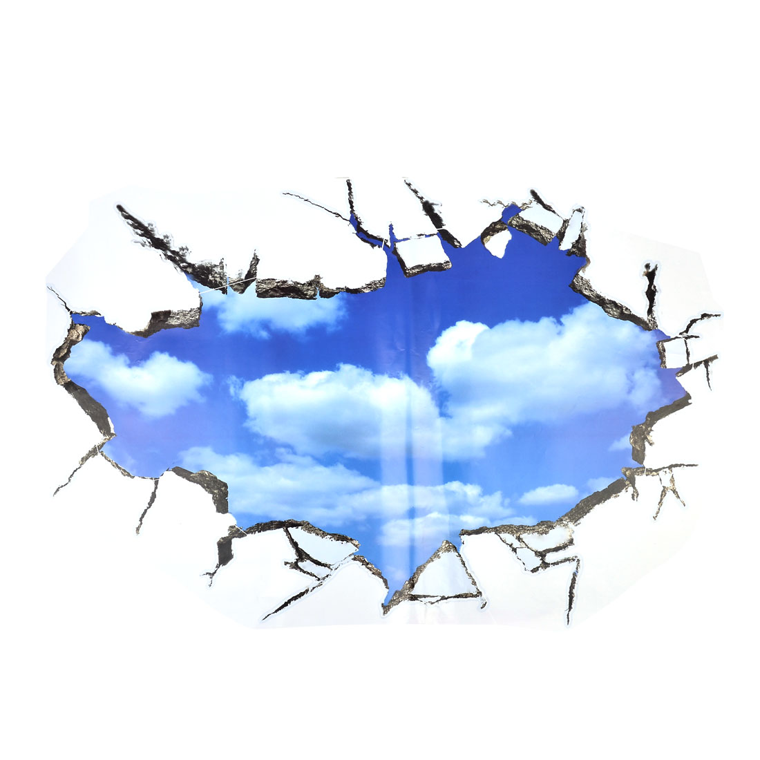 3d View Effect Sky Pattern Adhesive Wall Sticker Decal 90x60cm