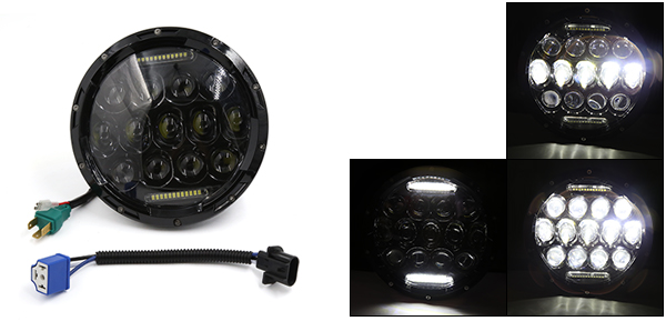 F FIERCE CYCLE 7'' Black 75W LED Headlight H4 H13 DRL Hi/Lo Beam For Jeep Wrangler Harley