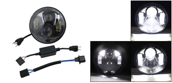 F FIERCE CYCLE Black 5.75 5 3/4 Motorcycle Projector LED Light Bulb Headlight For Harley H-D