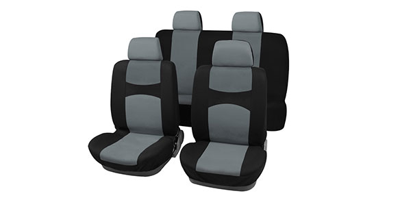 X Autohaux Car Seat Covers Gray Black Full Set for Auto w/ 4 Head Rests
