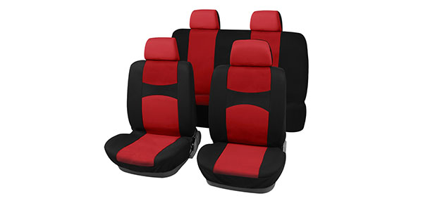 X Autohaux Car Seat Covers Red Black Full Set for Auto w/ 4 Head Rests