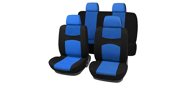 X Autohaux Car Seat Covers Blue Black Full Set for Auto w/ 4 Head Rests