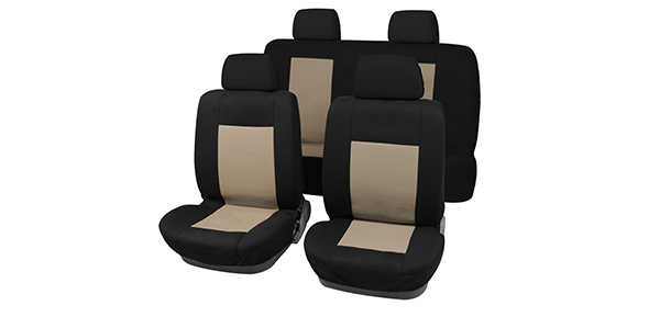 X Autohaux 8 pieces Car Seat Covers Full Set For Auto Truck Beige