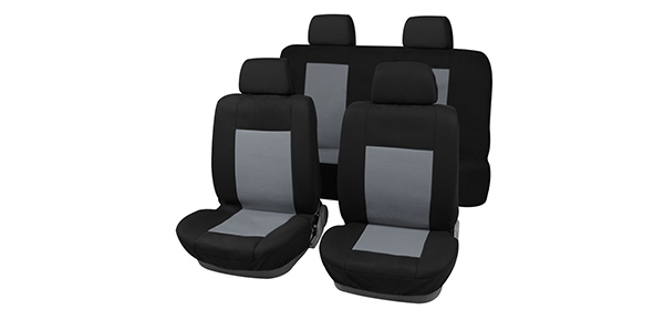 New Universal Fit Car Seat Covers Full Set For Auto Truck Gray-Black