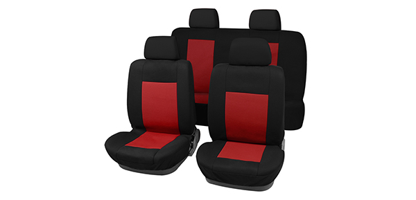 X Autohaux New Universal Fit Car Seat Covers Full Set For Auto Truck Red-Black