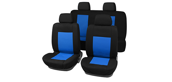 X Autohaux 8 pieces Car Seat Covers Full Set For Auto Truck Blue-Black