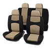 X Autohaux Car Seat Covers Beige Black Full Set for Auto w/ 4 Head Rests