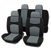 Car Seat Covers Gray Black Full Set for Auto w/ 4 Head Rests