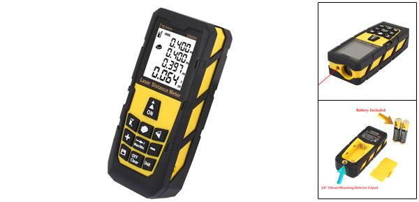 60m/196ft Digital Laser Distance Meter Rangefinder Measure Diastimeter Yellow