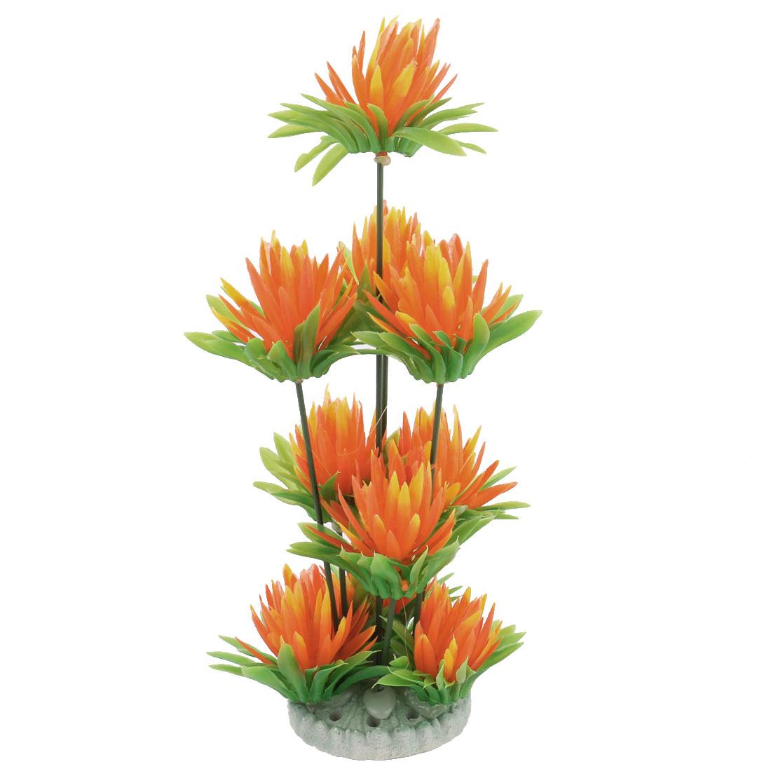 Aquarium-Fish-Tank-Artificial-Landscape-Flower-Plant-Ornament-Light-Green-Orange
