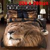 3D Big Golden Lion Head Pattern Queen Size Duvet Cover Pillowcase...