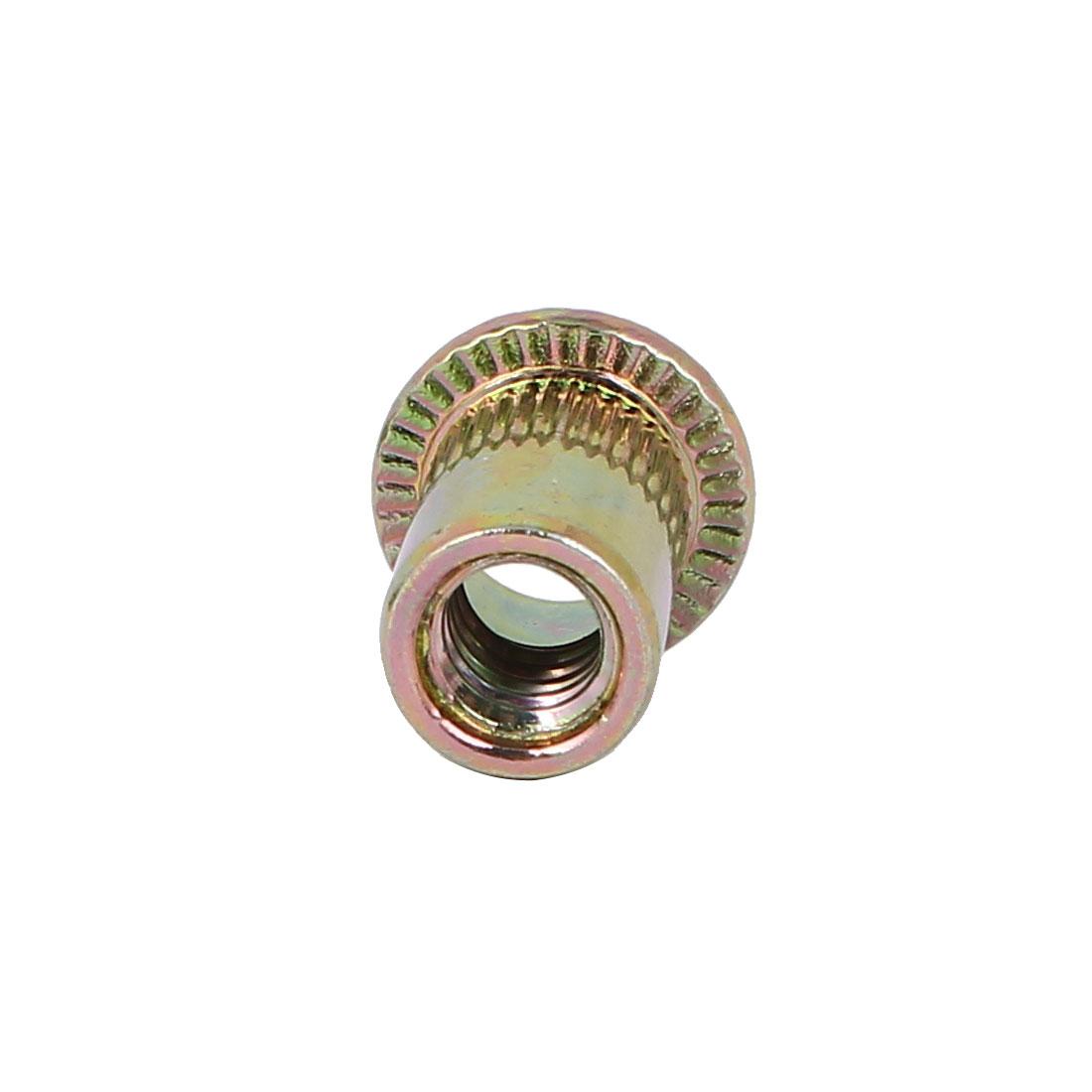 1-4-034-Knurled-Flat-Head-Insert-Rivet-Nut-Nutserts-Fastener-Bronze-Tone-100pcs