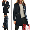 Women Turn Down Collar A-line Worsted Toggle Coat ...