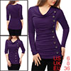Women Cowl Neck Long Sleeves Buttons Decor Ruched ...