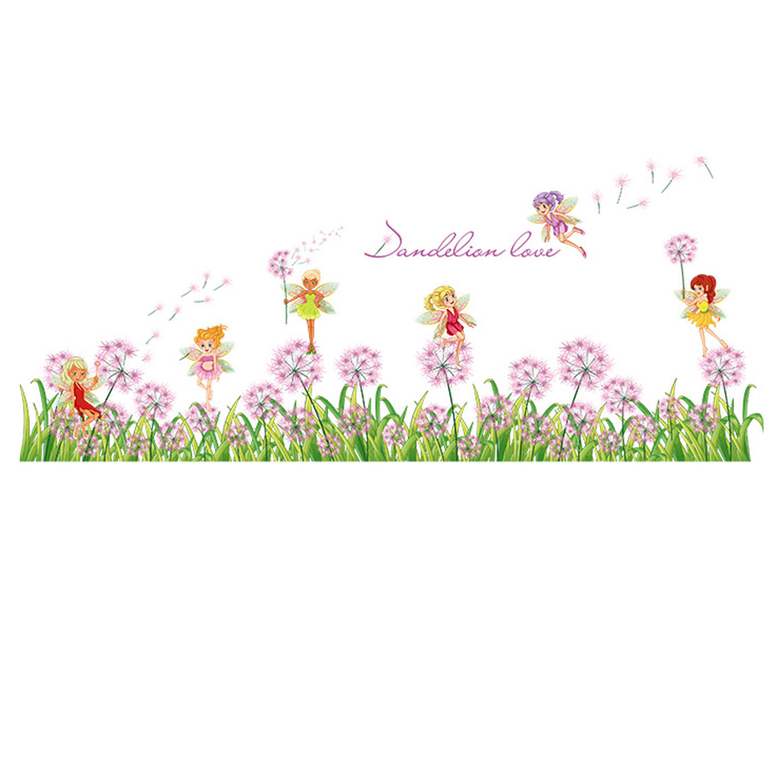 Home PVC Flower Fairy Pattern Self Adhesive Wall Sticker Decal Mural 50 x 70cm