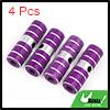 4pcs Purple Silver Tone Aluminum Alloy Cylinder Bi...