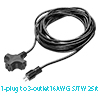 US Plug to 3 Outlets Power Extension Cord Cable 13...