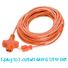 US Plug to 3 Outlets Power Extension Cord Cable 15...