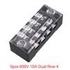5pcs 600V 15A Dual Row 4 Positions Screw Terminal ...