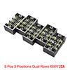 5 Pcs 3 Positions Dual Rows 600V 15A Wire Barrier ...
